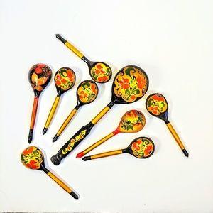 Unique Vintage Wooden Serving Spoons